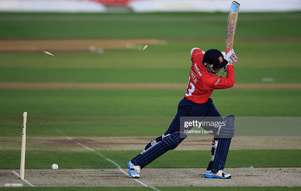 Greg Smith of Essex is bowld by Suranga Lakmal of Sri Lanka during a Tour match between Essex and Sri Lanka at Ford County Ground on May 13 2014 in...
