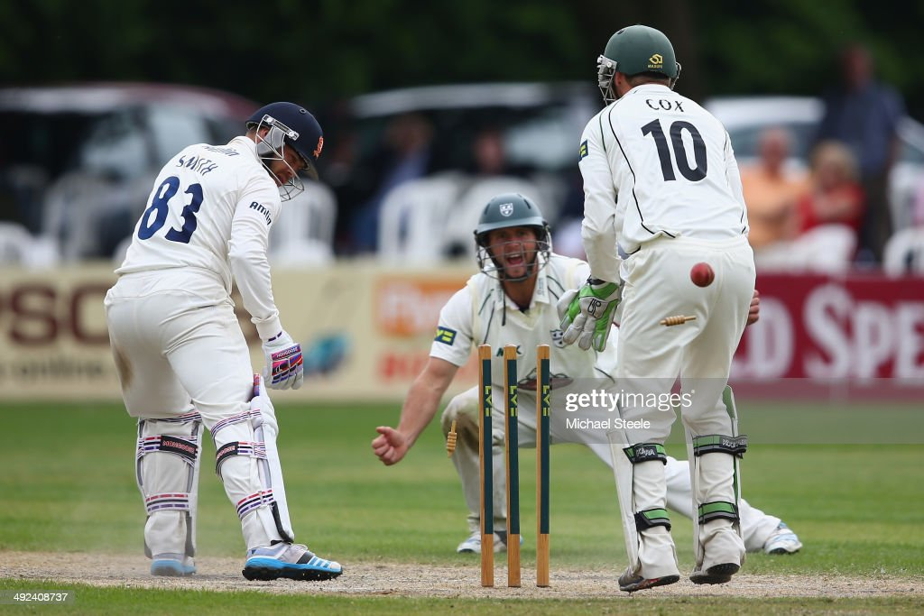 Greg Smith of Essex is bowled by Saeed Ajmal of Worcestershireduring day three of the LV County Championship match between Worcestershire and Essex...