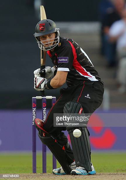 Greg Smith of Leicestershire Foxes during the Lancashire Lightning v Leicestershire Natwest T20 Blast at Old Trafford on June 13 2014 in Manchester...