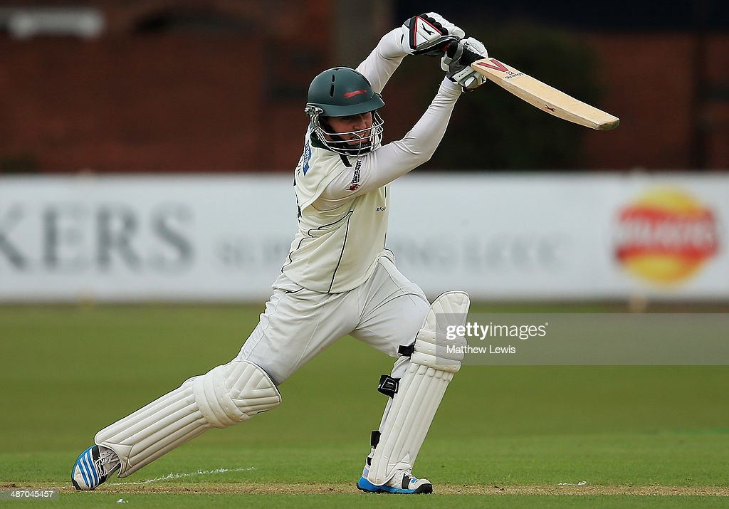 Greg Smith of Leicestershire hits the ball towards the boundary during day one of the LV County Championship match between Leicestershire and...