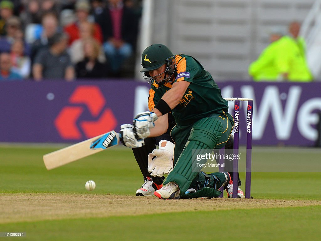 Greg Smith of Nottinghamshire Outlaws bats during the NatWest T20 Blast between Nottingham Outlaws and Yorkshire Vikings at Trent Bridge on May 22...