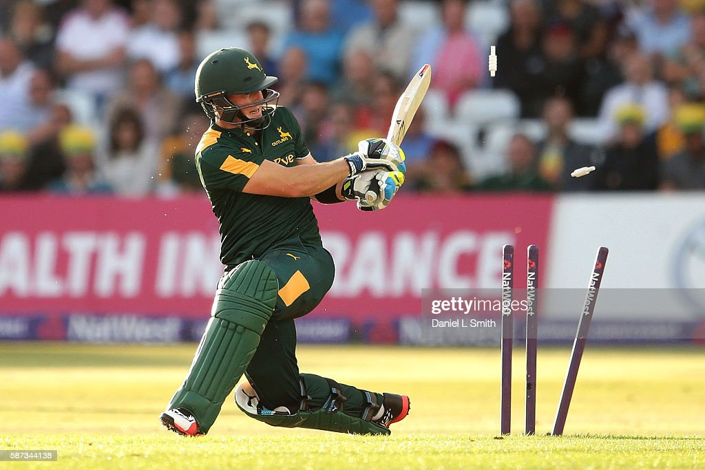 Greg Smith of Notts is bowled by a delivery from Ravi Bopara of Essex during the NatWest T20 Blast match between Notts Outlaw and Essex Eagles at...