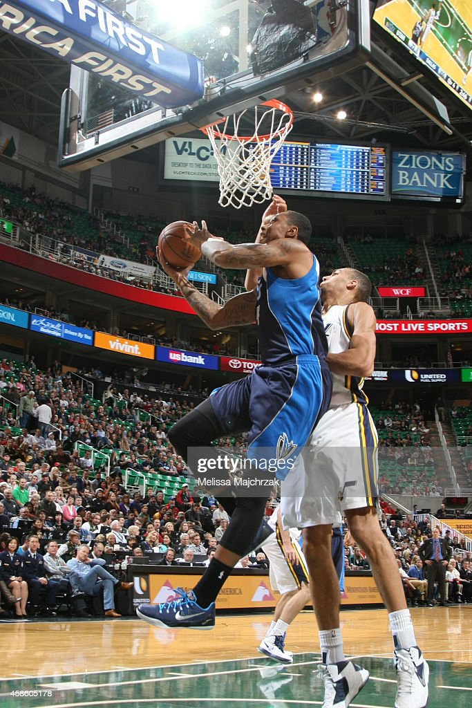 Greg Smith of the Dallas Mavericks goes up for a layup against the Utah Jazz during the game at EnergySolutions Arena on November 7 2014 in Salt Lake...