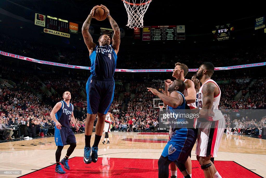 Greg Smith of the Dallas Mavericks grabs a rebound against the Portland Trail Blazers on March 5 2015 at the Moda Center Arena in Portland Oregon...