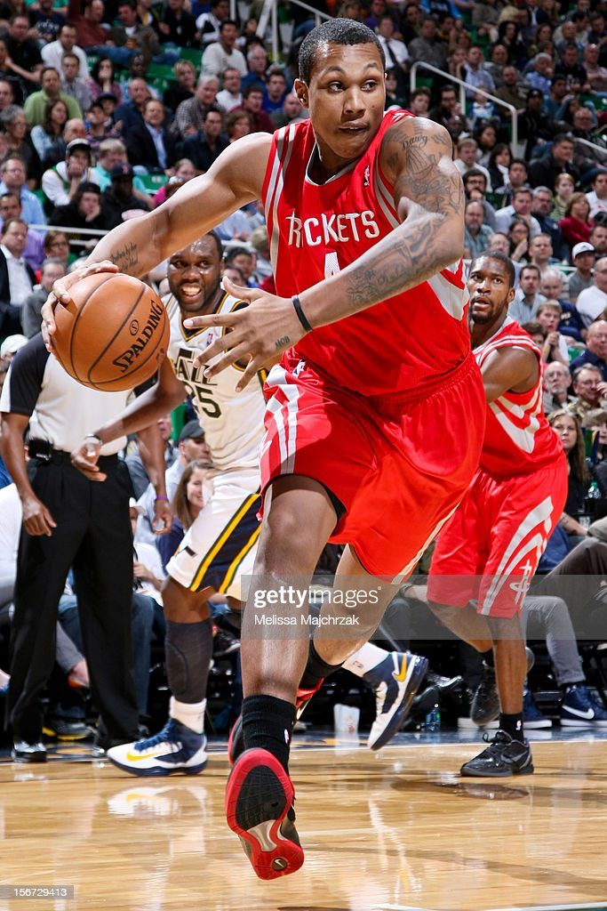 Greg Smith #4 of the Houston Rockets drives against the Utah Jazz at Energy Solutions Arena on November 19, 2012 in Salt Lake City, Utah.