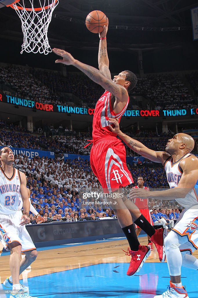 Greg Smith #4 of the Houston Rockets drives to the basket against the Oklahoma City Thunder in Game Two of the Western Conference Quarter Finals during the 2013 NBA playoffs on April 24, 2013 at the Chesapeake Energy Arena in Oklahoma City, Oklahoma.