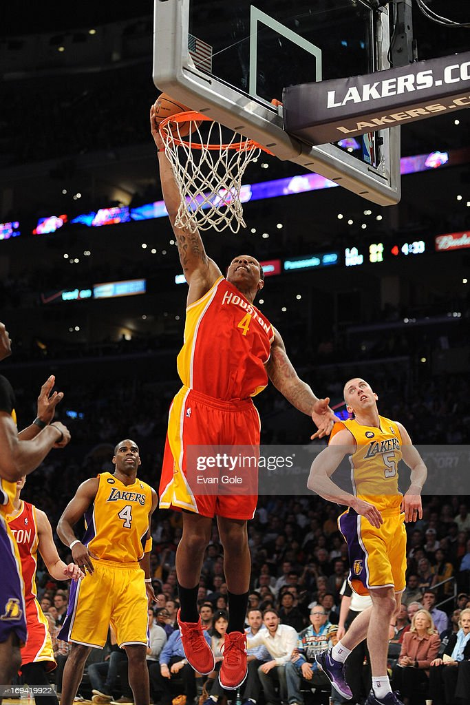 Greg Smith #4 of the Houston Rockets dunks the ball against the Los Angeles Lakers at Staples Center on April 17, 2013 in Los Angeles, California.