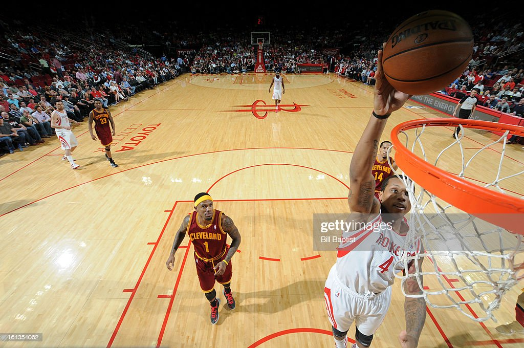 Greg Smith #4 of the Houston Rockets dunks the ball against the Cleveland Cavaliers on March 22, 2013 at the Toyota Center in Houston, Texas.