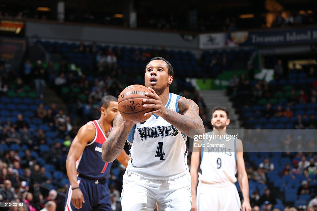 Greg Smith of the Minnesota Timberwolves prepares to shoot a free throw against the Washington Wizards on March 2 2016 at Target Center in...