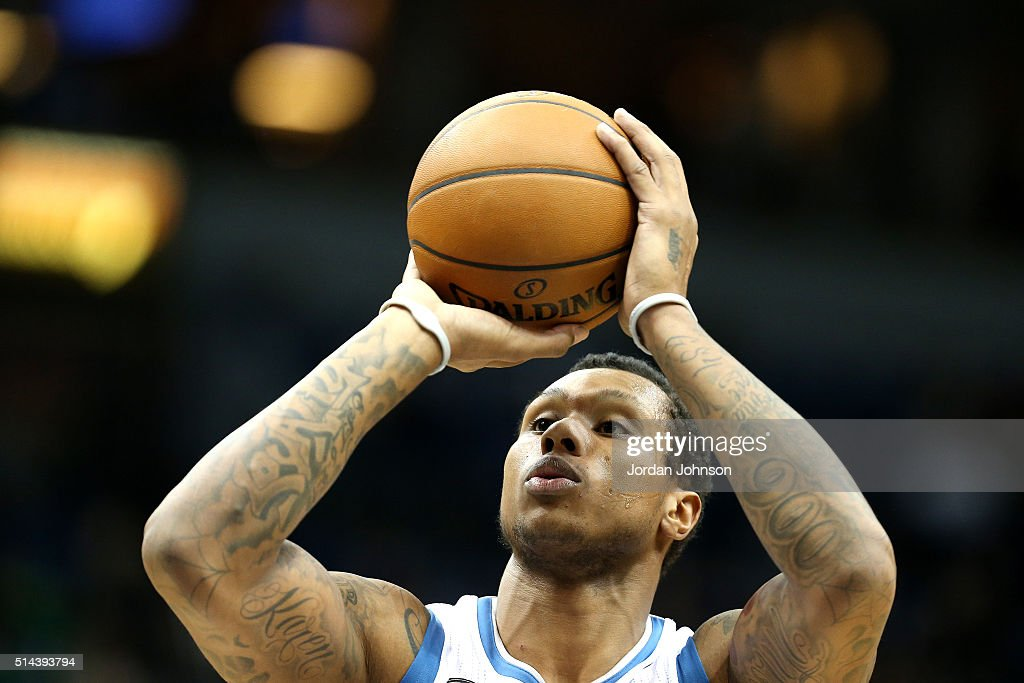 <a gi-track='captionPersonalityLinkClicked' href=/galleries/search?phrase=Greg+Smith+-+Basketballer+-+Center&family=editorial&specificpeople=11490234 ng-click='$event.stopPropagation()'>Greg Smith</a> #4 of the Minnesota Timberwolves shoots a free throw during the game against the San Antonio Spurs on March 8, 2016 at Target Center in Minneapolis, Minnesota.