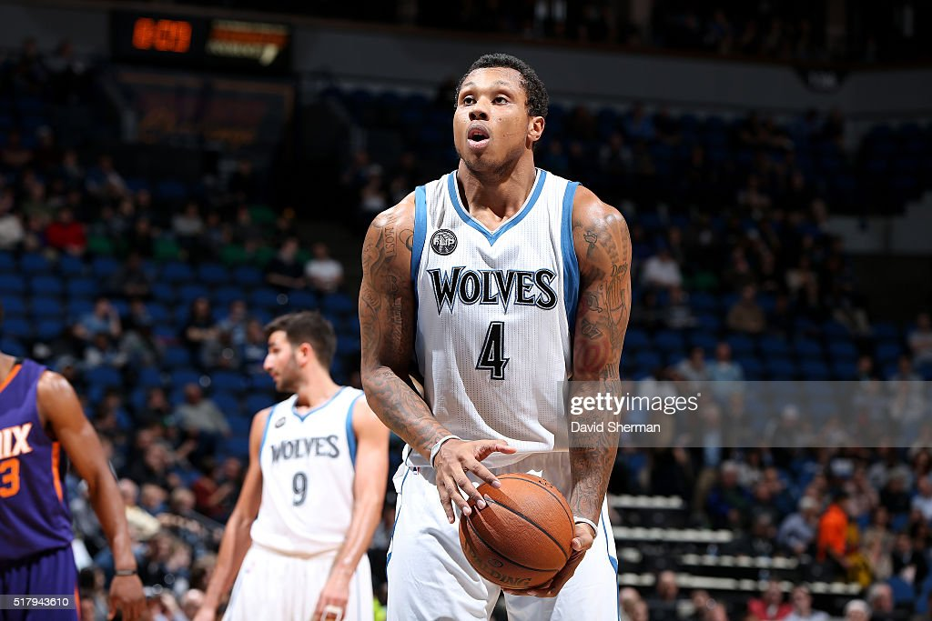 Greg Smith of the Minnesota Timberwolves shoots a free throw during the game against the Phoenix Suns on March 28 2016 at Target Center in...