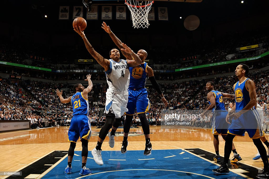Greg Smith of the Minnesota Timberwolves shoots the ball against the Golden State Warriors on March 21 2016 at Target Center in Minneapolis Minnesota...