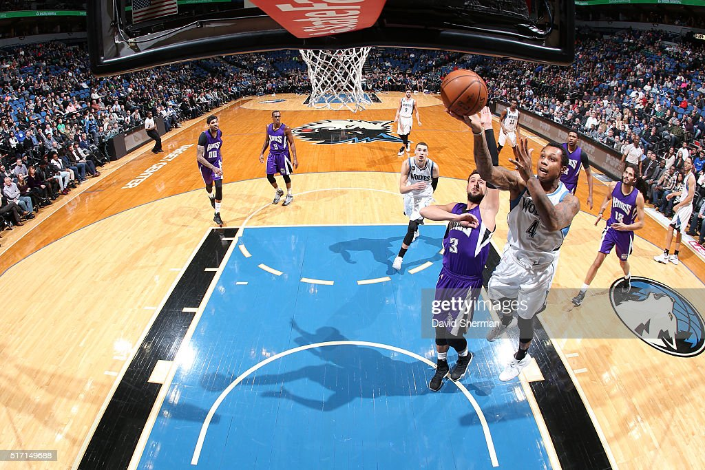 Greg Smith of the Minnesota Timberwolves shoots the ball against the Sacramento Kings on March 23 2016 at Target Center in Minneapolis Minnesota NOTE...