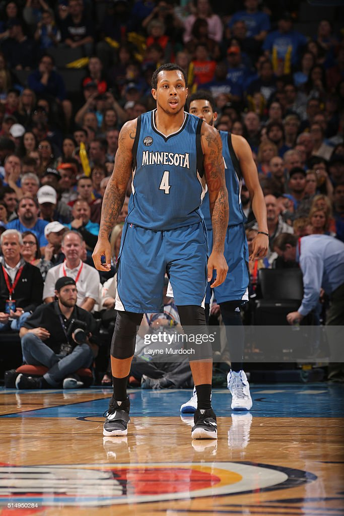 Greg Smith of the Minnesota Timberwolves stands on the court during the game against the Oklahoma City Thunder on March 11 2016 at Chesapeake Energy...