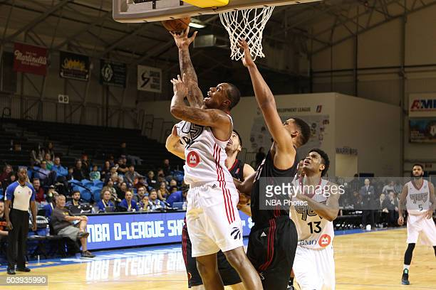 CRUZ CA JANUARY 7 Greg Smith of the Raptors lays the ball up against the Sioux Falls Skyforce during an NBA DLeague game on JANUARY 7 2016 in SANTA...
