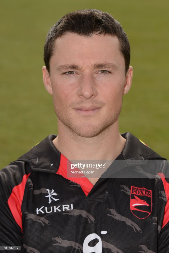 Greg Smith poses during the Leicestershire CCC photocall at Grace Road on March 31 2014 in Leicester England