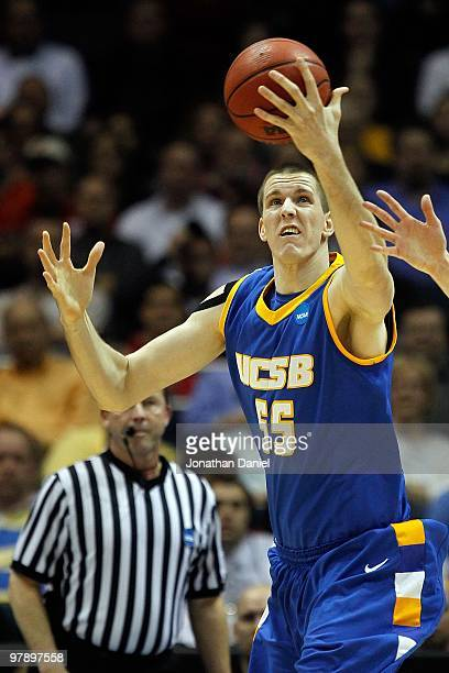 Greg Somogyi of the UC Santa Barbara Gauchos rebounds the ball in the first half against the Ohio State Buckeyes during the first round of the 2010...