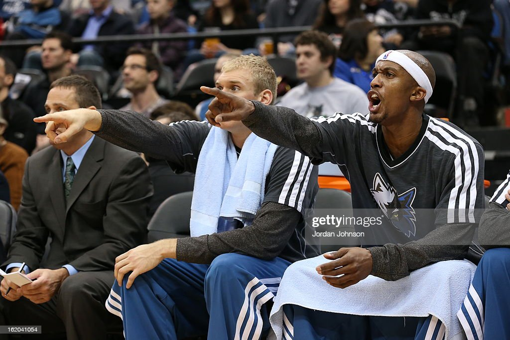 Greg Stiemsma #34 and Dante Cunningham #33 of the Minnesota Timberwolves yells plays from the bench during the game against the Utah Jazz on February 13, 2013 at Target Center in Minneapolis, Minnesota.