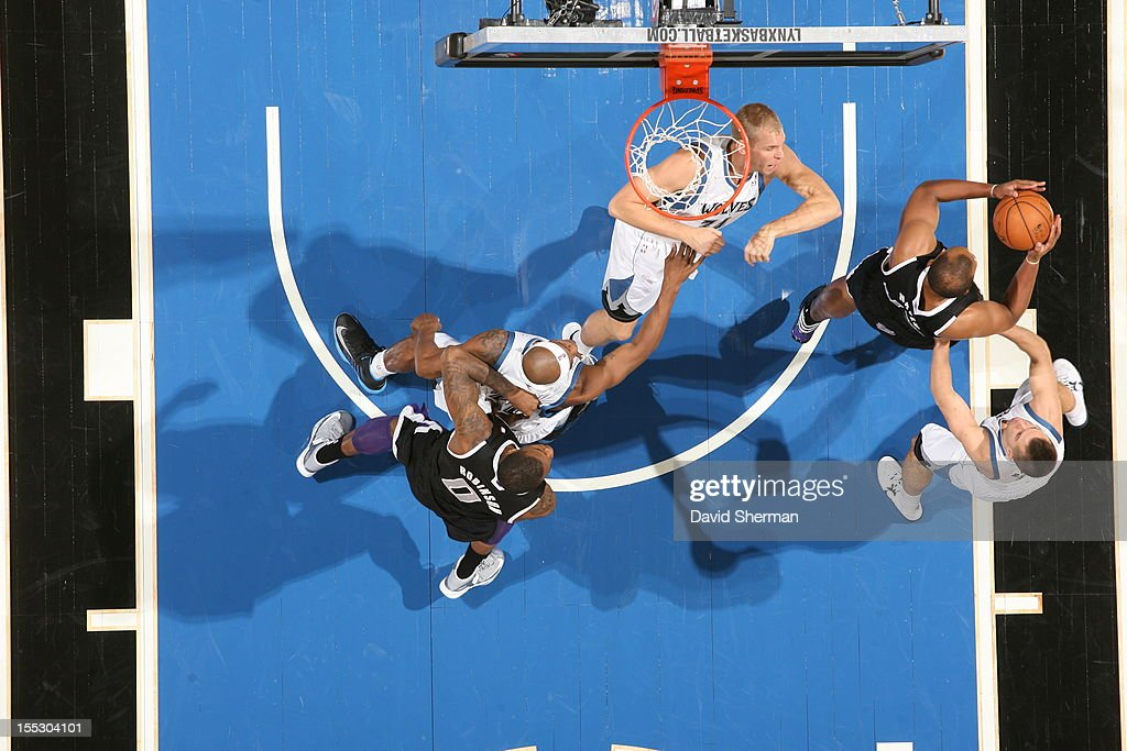 Greg Stiemsma #34 of the Minnesota Timberwolves attempts the block against the Sacramento Kings during the season opening game on November 2, 2012 at Target Center in Minneapolis, Minnesota.