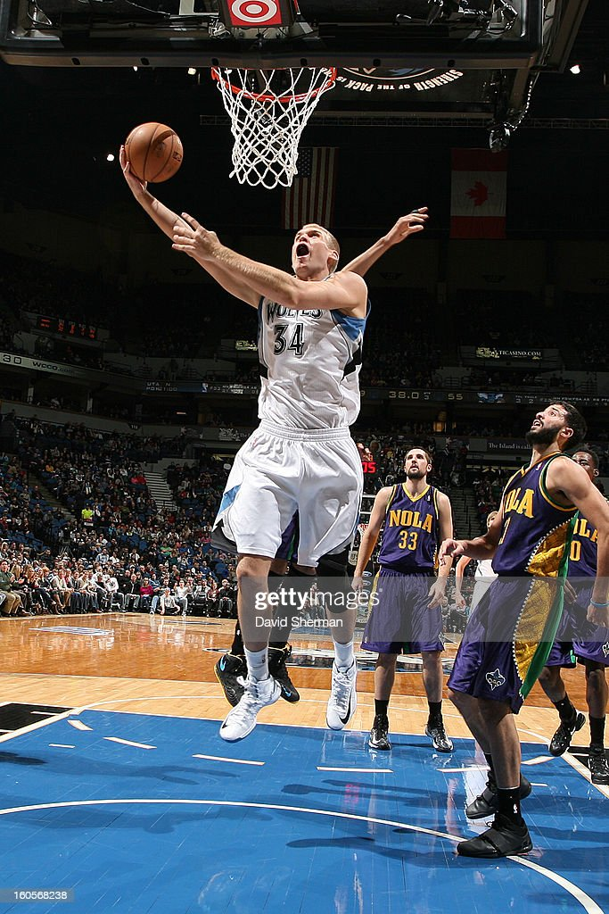 <a gi-track='captionPersonalityLinkClicked' href=/galleries/search?phrase=Greg+Stiemsma&family=editorial&specificpeople=2098297 ng-click='$event.stopPropagation()'>Greg Stiemsma</a> #34 of the Minnesota Timberwolves drives to the basket against the New Orleans Hornets on February 2, 2013 at Target Center in Minneapolis, Minnesota.