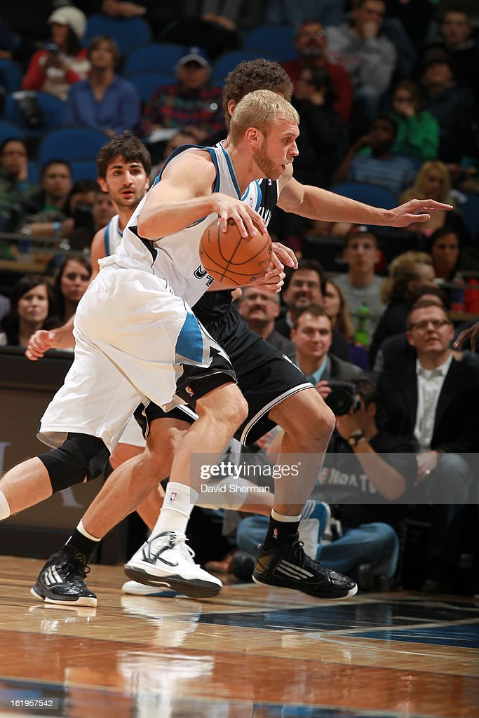 Greg Stiemsma #34 of the Minnesota Timberwolves drives to the basket against the Brooklyn Nets on January 23, 2013 at Target Center in Minneapolis, Minnesota.