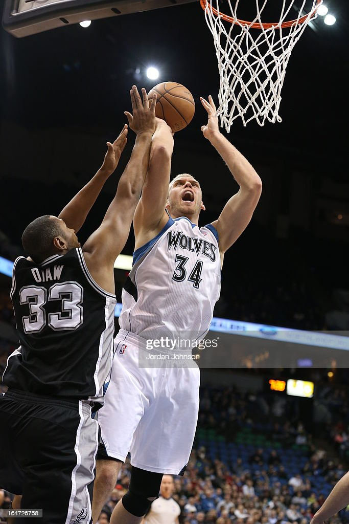 <a gi-track='captionPersonalityLinkClicked' href=/galleries/search?phrase=Greg+Stiemsma&family=editorial&specificpeople=2098297 ng-click='$event.stopPropagation()'>Greg Stiemsma</a> #34 of the Minnesota Timberwolves drives to the basket against the San Antonio Spurs on March 12, 2013 at Target Center in Minneapolis, Minnesota.