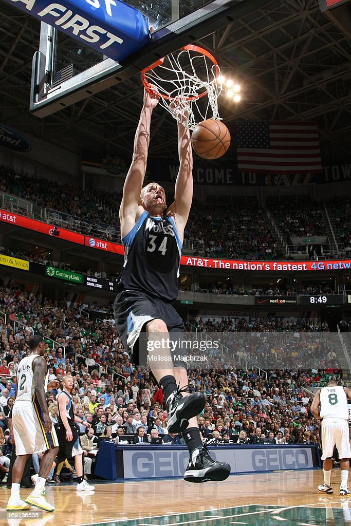 <a gi-track='captionPersonalityLinkClicked' href=/galleries/search?phrase=Greg+Stiemsma&family=editorial&specificpeople=2098297 ng-click='$event.stopPropagation()'>Greg Stiemsma</a> #34 of the Minnesota Timberwolves dunks against the Utah Jazz at Energy Solutions Arena on April 12, 2013 in Salt Lake City, Utah.