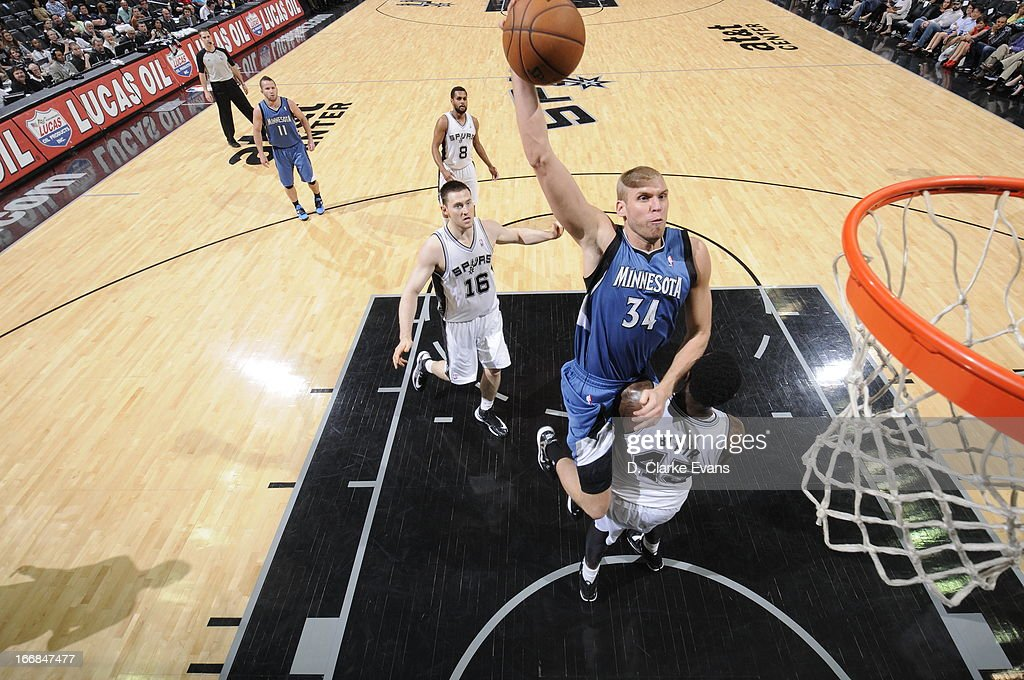 Greg Stiemsma #34 of the Minnesota Timberwolves dunks the ball against the San Antonio Spurs on April 17, 2013 at the AT&T Center in San Antonio, Texas.