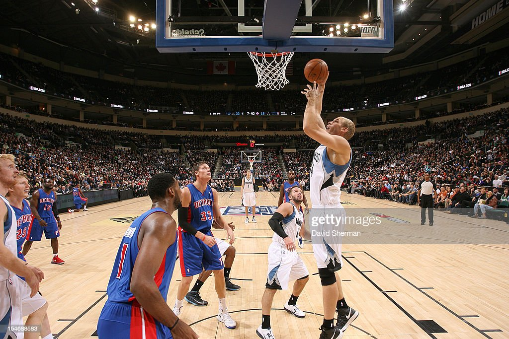<a gi-track='captionPersonalityLinkClicked' href=/galleries/search?phrase=Greg+Stiemsma&family=editorial&specificpeople=2098297 ng-click='$event.stopPropagation()'>Greg Stiemsma</a> #34 of the Minnesota Timberwolves goes to the basket during the game between the Minnesota Timberwolves and the Detroit Pistons during the NBA preseason as part of NBA Canada Series 2012 on October 24, 2012 at the MTS Centre in Winnipeg, Manitoba, Canada.