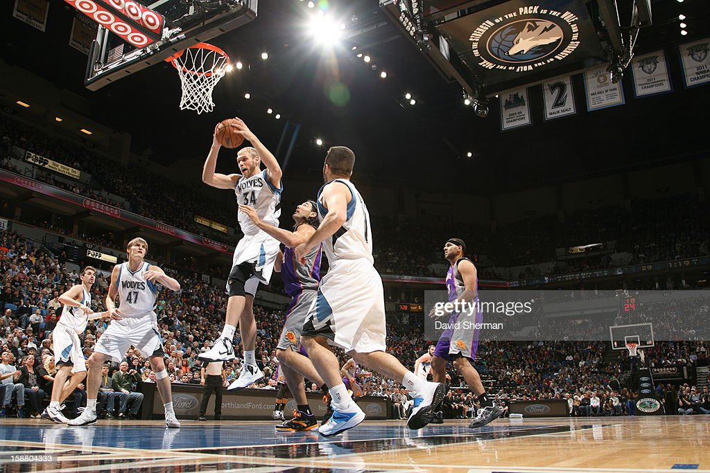 <a gi-track='captionPersonalityLinkClicked' href=/galleries/search?phrase=Greg+Stiemsma&family=editorial&specificpeople=2098297 ng-click='$event.stopPropagation()'>Greg Stiemsma</a> #34 of the Minnesota Timberwolves goes to the basket during the game between the Minnesota Timberwolves and the Phoenix Suns during the game on December 29, 2012 at Target Center in Minneapolis, Minnesota.