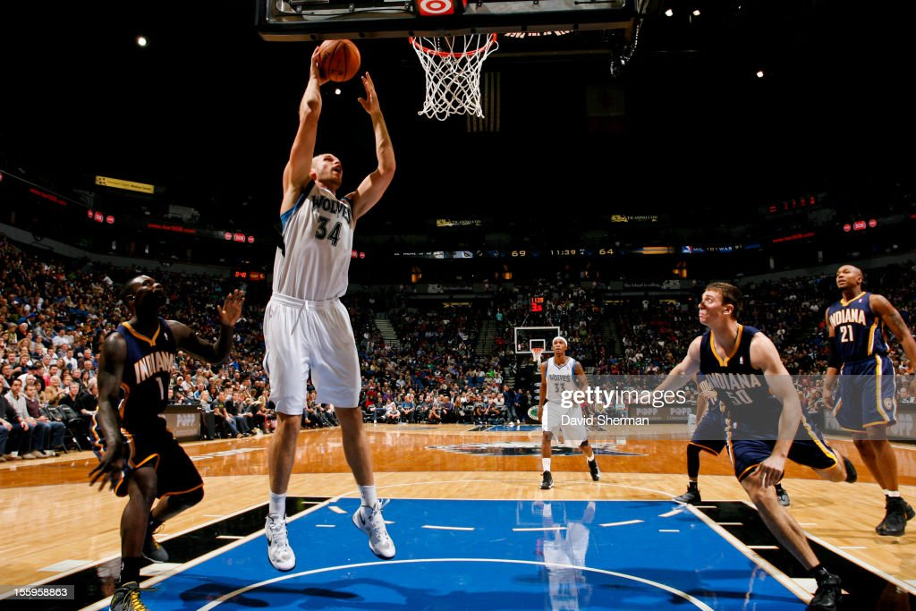 Greg Stiemsma #34 of the Minnesota Timberwolves goes to the basket against the Indiana Pacers on November 9, 2012 at Target Center in Minneapolis, Minnesota.