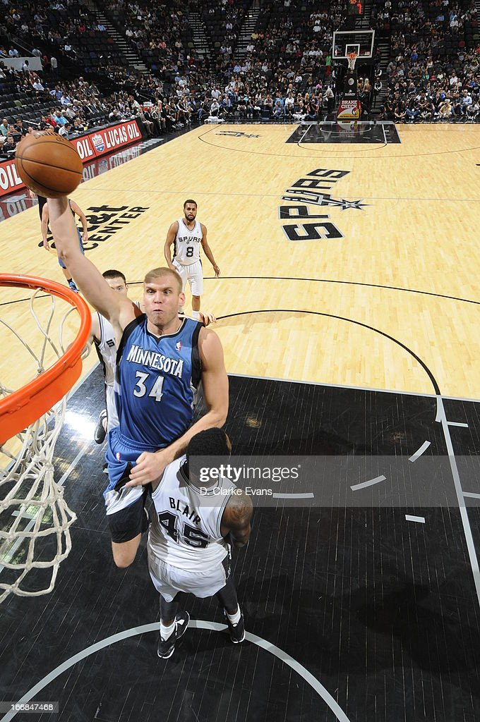 Greg Stiemsma of the Minnesota Timberwolves goes up for the dunk against the San Antonio Spurs on April 17 2013 at the ATT Center in San Antonio...