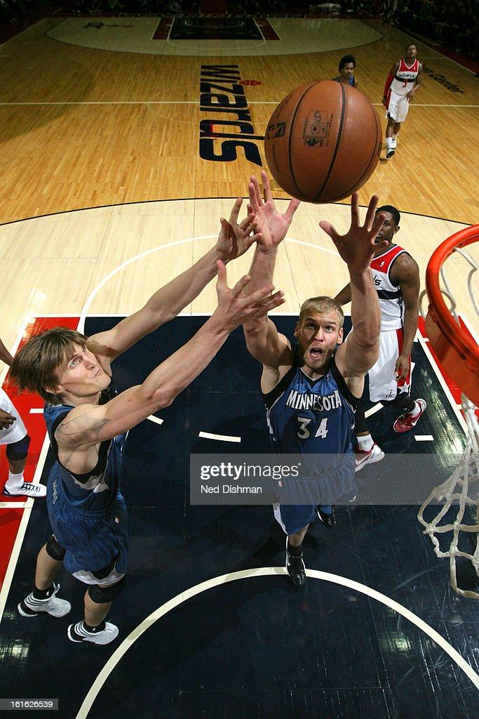 Greg Stiemsma #34 of the Minnesota Timberwolves grabs a rebound against the Washington Wizards at the Verizon Center on January 25, 2013 in Washington, DC.