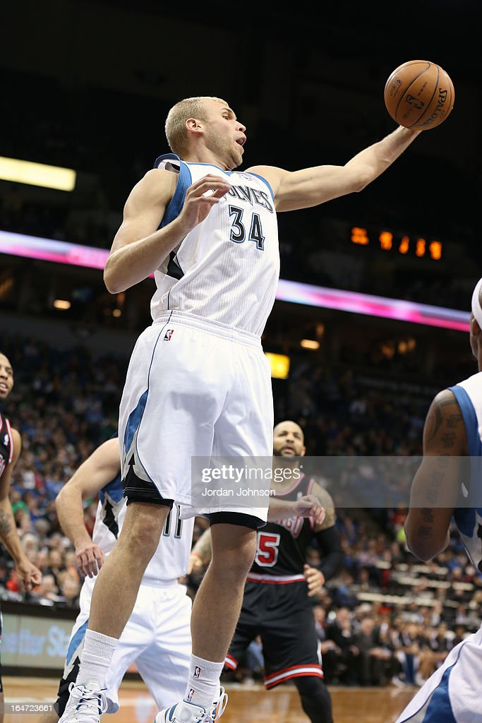Greg Stiemsma of the Minnesota Timberwolves grabs a rebound against the Chicago Bulls on March 24 2013 at Target Center in Minneapolis Minnesota NOTE...