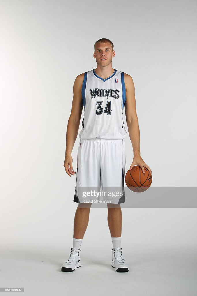 Greg Stiemsma of the Minnesota Timberwolves poses for a portrait during 2012 NBA Media Day on October 1 2012 at Target Center in Minneapolis...