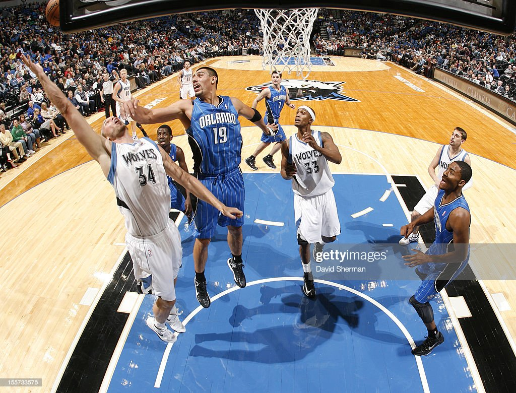 Greg Stiemsma #34 of the Minnesota Timberwolves reaches for the ball during the game between the Minnesota Timberwolves and the Orlando Magic on November 7, 2012 at Target Center in Minneapolis, Minnesota.