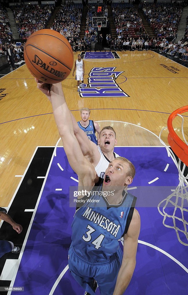 Greg Stiemsma #34 of the Minnesota Timberwolves rebounds against Cole Aldrich #45 of the Sacramento Kings on March 21, 2013 at Sleep Train Arena in Sacramento, California.