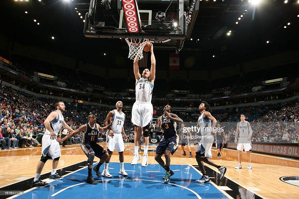 Greg Stiemsma #34 of the Minnesota Timberwolves rebounds against the Utah Jazz on February 13, 2013 at Target Center in Minneapolis, Minnesota.