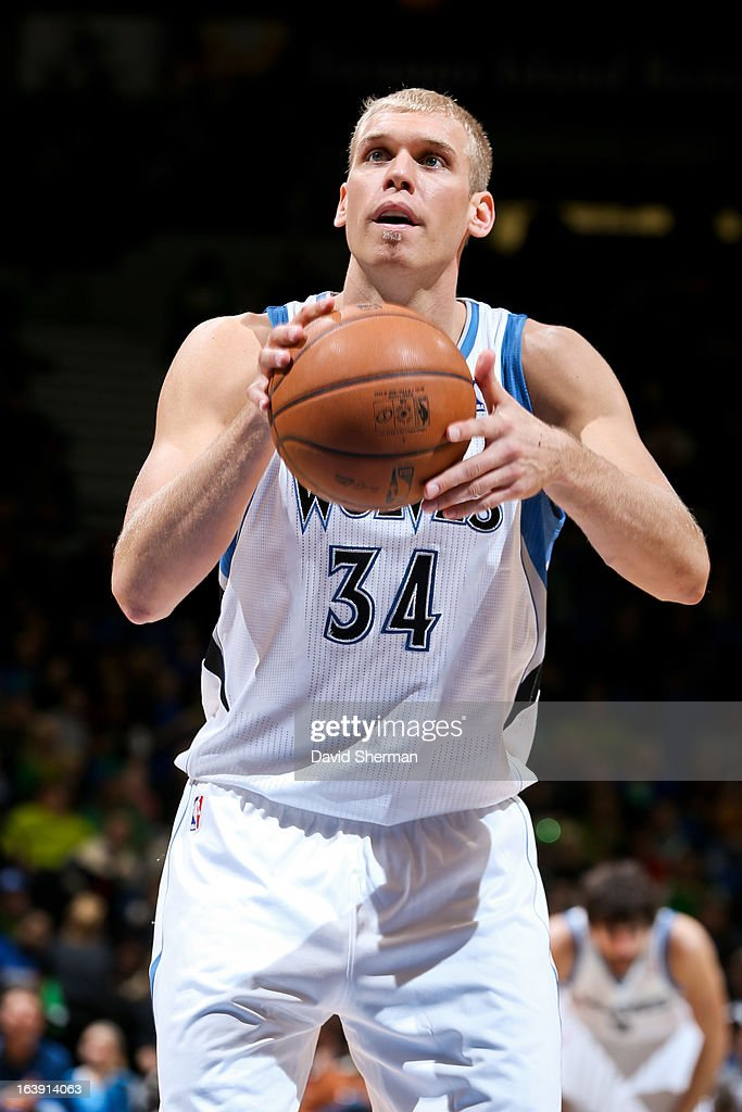 Greg Stiemsma of the Minnesota Timberwolves shoots a freethrow against the New Orleans Hornets on March 17 2013 at Target Center in Minneapolis...