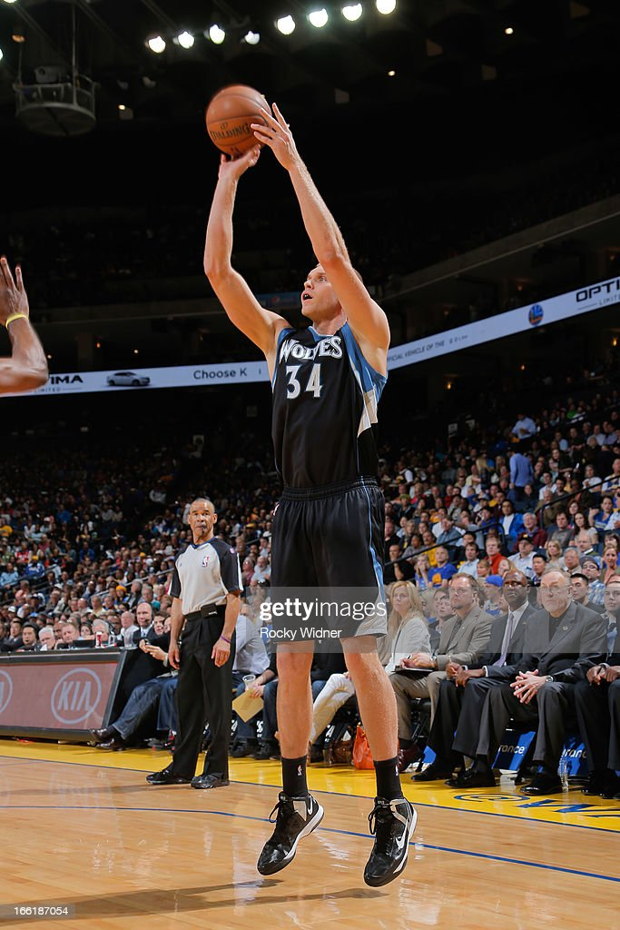 Greg Stiemsma of the Minnesota Timberwolves shoots against the Golden State Warriors on April 9 2013 at Oracle Arena in Oakland California NOTE TO...