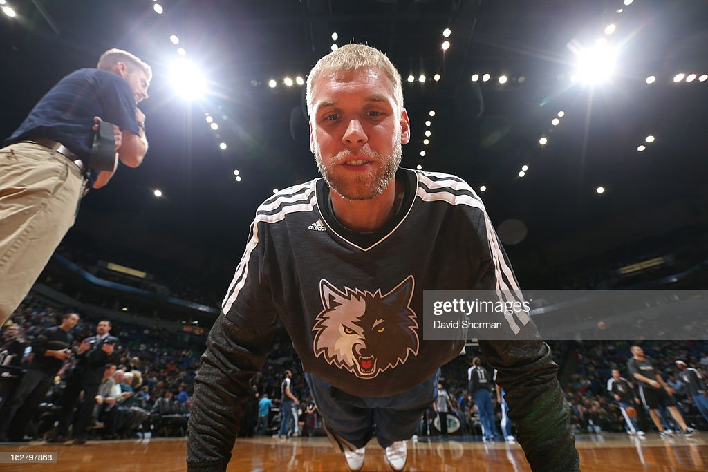 <a gi-track='captionPersonalityLinkClicked' href=/galleries/search?phrase=Greg+Stiemsma&family=editorial&specificpeople=2098297 ng-click='$event.stopPropagation()'>Greg Stiemsma</a> #34 of the Minnesota Timberwolves warms up before the game against the Houston Rockets on December 26, 2012 at Target Center in Minneapolis, Minnesota.