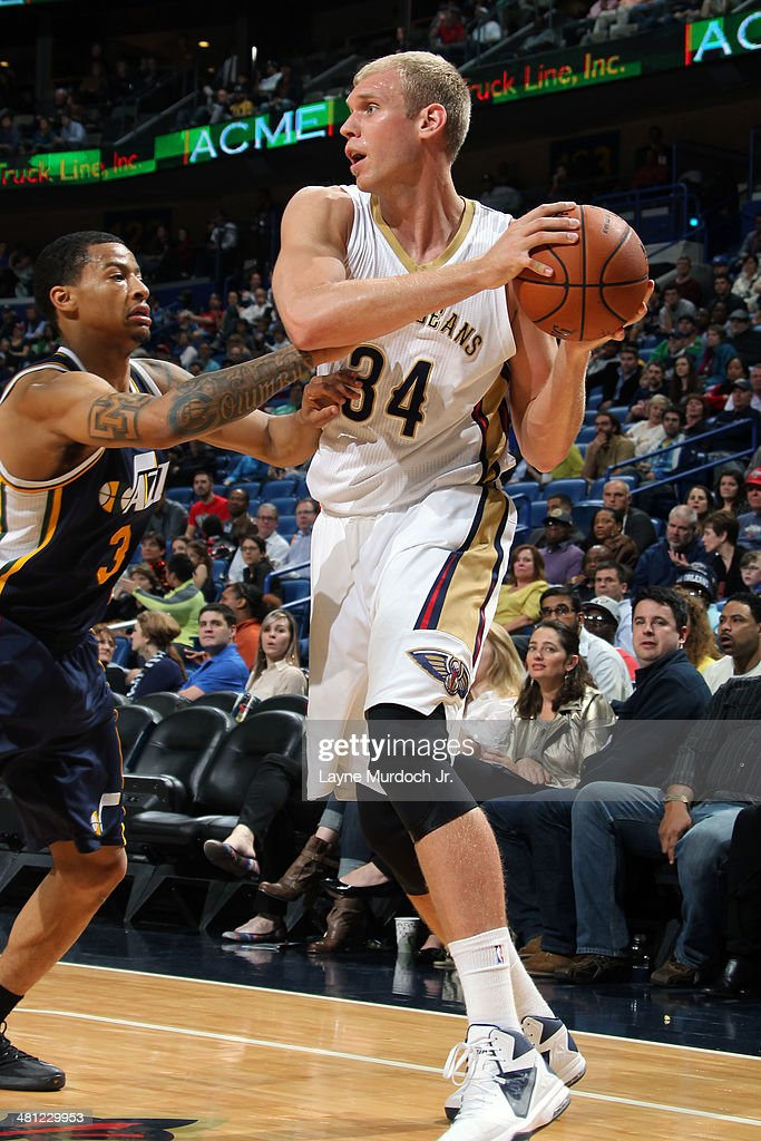 Greg Stiemsma of the New Orleans Pelicans controls the ball against the Utah Jazz on March 28 2014 at the Smoothie King Center in New Orleans...
