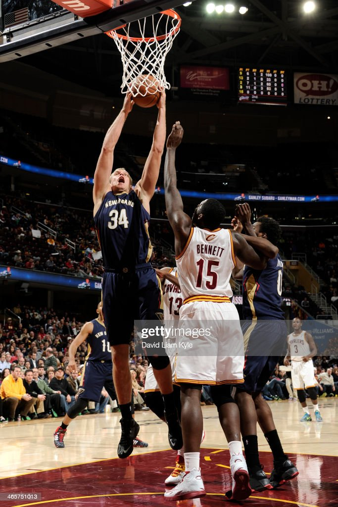 Greg Stiemsma of the New Orleans Pelicans drives to the basket against the Cleveland Cavaliers at The Quicken Loans Arena on January 28 2014 in...