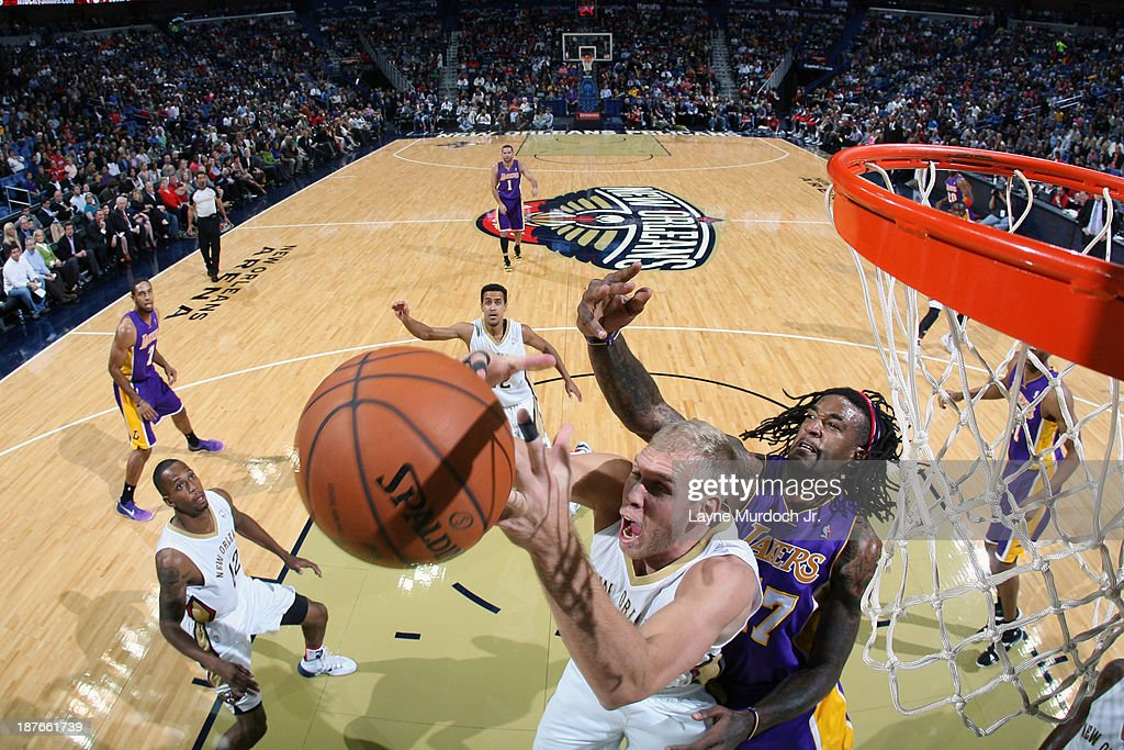 Greg Stiemsma #34 of the New Orleans Pelicans grabs a rebound against the Los Angeles Lakers on November 8, 2013 at the New Orleans Arena in New Orleans, Louisiana.