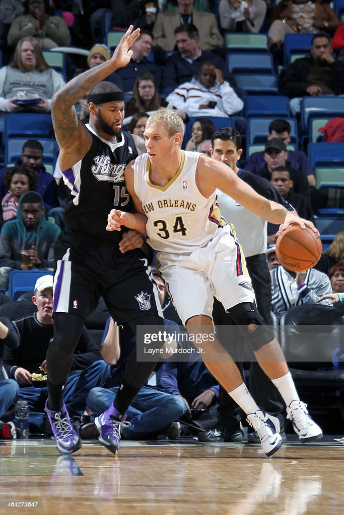 Greg Stiemsma of the New Orleans Pelicans handling the ball during a game against the Sacramento Kings on January 21 2014 at the New Orleans Arena in...