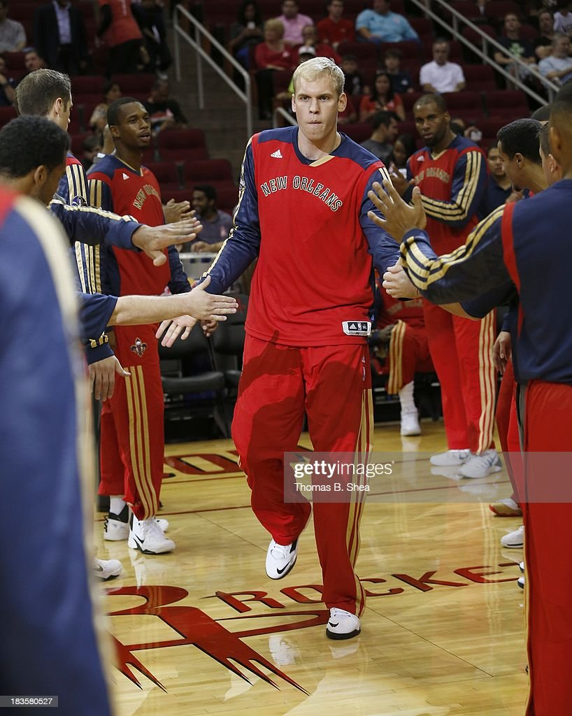 Greg Stiemsma #34 of the New Orleans Pelicans is introduced before a preseason NBA game against the Houston Rockets on October 5, 2013 at Toyota Center in Houston, Texas. The Pelicans won 116 to 115.