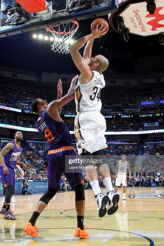 Greg Stiemsma of the New Orleans Pelicans shoots against the Phoenix Suns on April 09 2014 at the Smoothie King Center in New Orleans Louisiana NOTE...