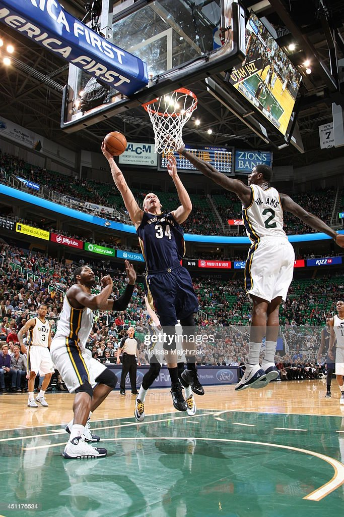 Greg Stiemsma #34 of the New Orleans Pelicans takes a shot against the Utah Jazz at EnergySolutions Arena on April 04, 2014 in Salt Lake City, Utah.