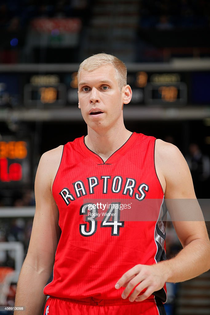Greg Stiemsma of the Toronto Raptors in a game against the Sacramento Kings on October 7 2014 at Sleep Train Arena in Sacramento California NOTE TO...