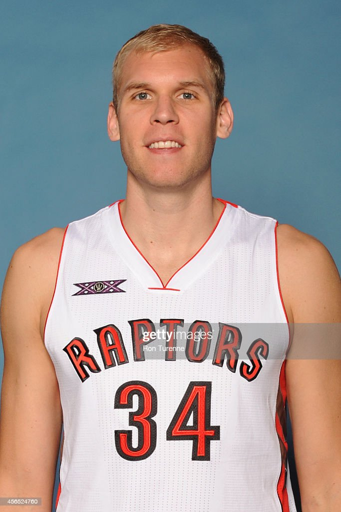 <a gi-track='captionPersonalityLinkClicked' href=/galleries/search?phrase=Greg+Stiemsma&family=editorial&specificpeople=2098297 ng-click='$event.stopPropagation()'>Greg Stiemsma</a> #34 of the Toronto Raptors poses for a photo during 2014 Raptors Media Day at the Air Canada Centre in Toronto, Ontario, Canada.